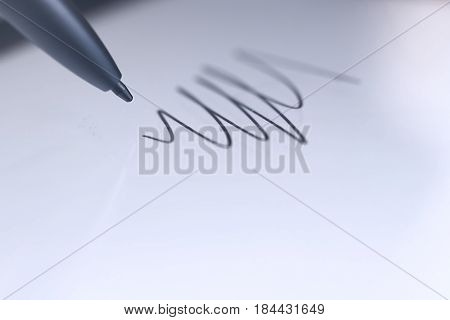 Stylus Pen Draw Sketch On Digital Tablet. Closeup.
