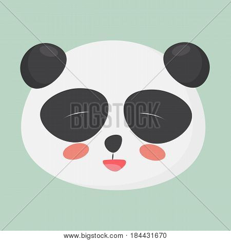 Cute joyful panda face could be used as a happy emoji emoticon poster postcard etc. Vector illustration of a giant cute panda face.