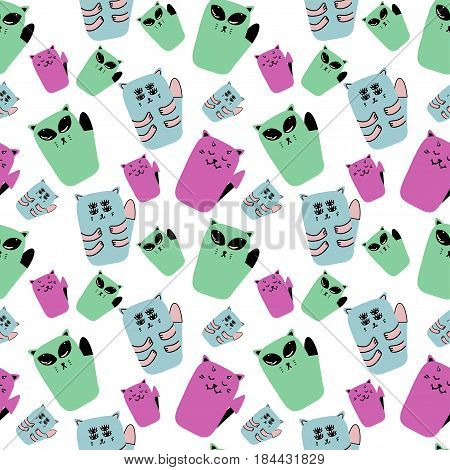Vector funny seamless pattern with cats alien evil and mutant.