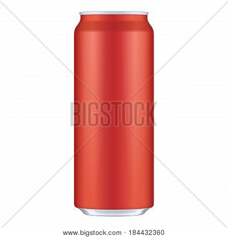 Red Metal Aluminum Beverage Drink Can 500ml. Mockup Template Ready For Your Design. Isolated On White Background. Product Packing. Vector EPS10 Product Packing Vector EPS10