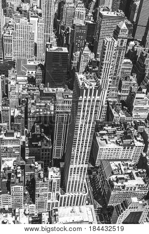 New York City Manhattan skyline aerial view with skyscrapers and street. Black and white photo.