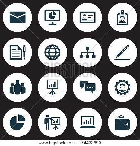 Trade Icons Set. Collection Of Earth, Group, Hierarchy And Other Elements. Also Includes Symbols Such As Structure, Billfold, Chatting.