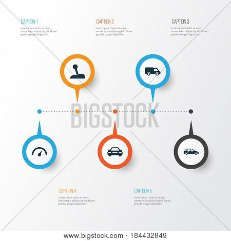 Automobile Icons Set. Collection Of Chronometer, Auto, Hatchback And Other Elements. Also Includes Symbols Such As Speedometer, Automobile, Wagon.