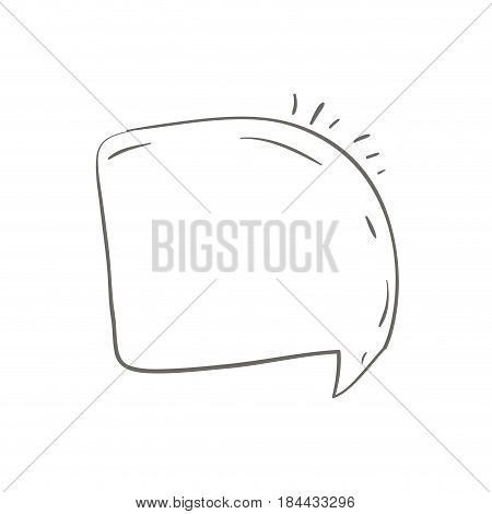gray hand drawn of rounded square speech vector illustration