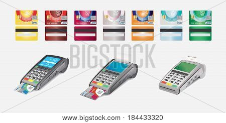 Credit Card Icon and POS terminal with printed reciept Isolated on white