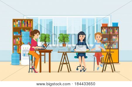Group of office workers. A girls working at computer, against background of office interior of cabinets and racks, the teaching for colleagues. Modern vector illustration isolated in cartoon style.