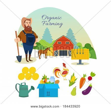 Organic farming concept. Farmer, organic pure natural food, agriculture, clean environment, nature, manual labor. Modern vector illustration isolated on white background.