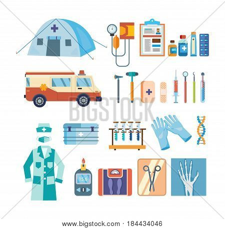 Modern healthcare concept. A set of tools for medical research, treatment, work in an institution. Vector illustration isolated on white background.