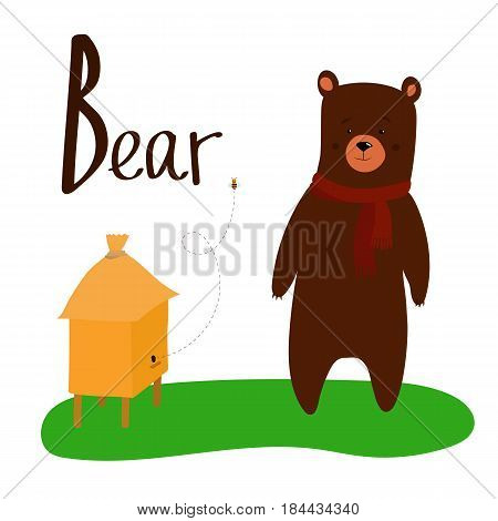 Bear cartoon character for kid illustration with beehive and alphabet text