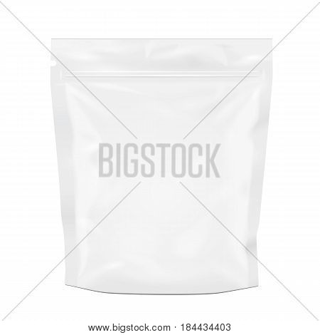 Blank Foil Food Or Drink Doy pack Bag Packaging. Illustration Isolated On White Background. Mock Up, Mockup Template Ready For Your Design. Vector EPS10
