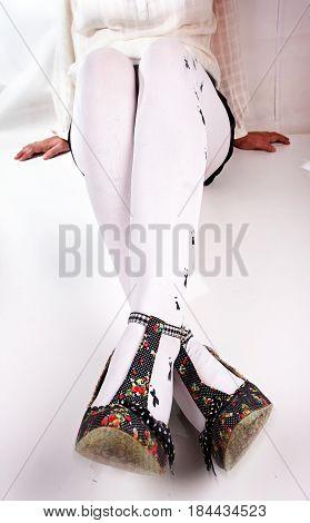 Legs in heels Woman legs wearing pantyhose and heels.