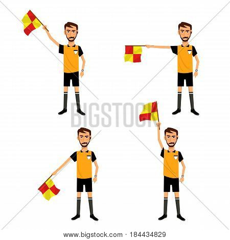 Vector illustration set of cartoon soccer umpire with signal checkered flag in hand. Sport competitions. Referee signal icon set.