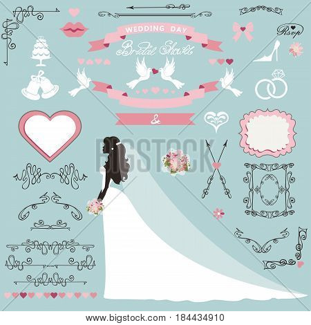 Wedding bridal shower invitation card decor set.Cartoon bride in long dress, Swirling borders, frames, ribbon and flowers, icons, heart and label.Design template kit, save date card.Vintage Vector Illustration, flat.