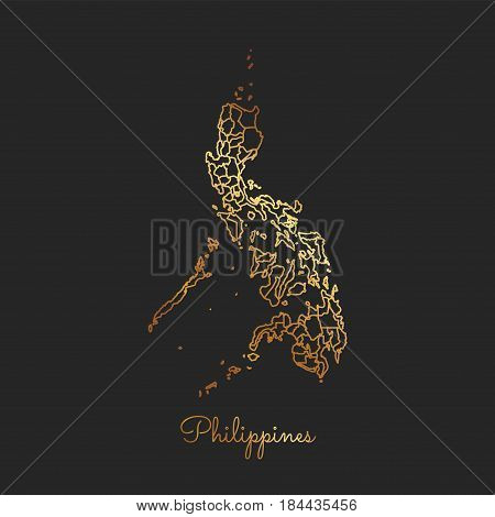 Philippines Region Map: Golden Gradient Outline On Dark Background. Detailed Map Of Philippines Regi