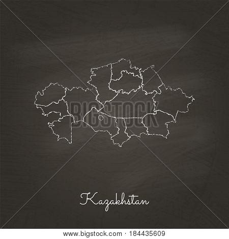 Kazakhstan Region Map: Hand Drawn With White Chalk On School Blackboard Texture. Detailed Map Of Kaz