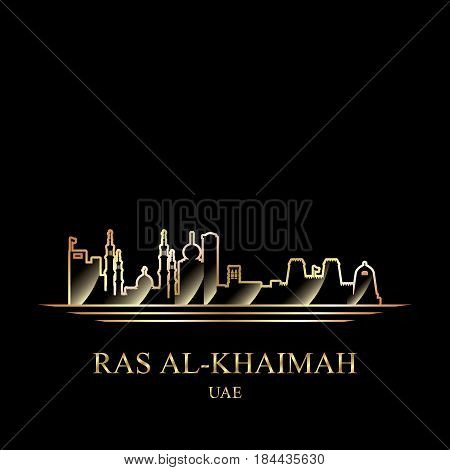 Gold Silhouette Of Ras Al-khaimah On Black Background