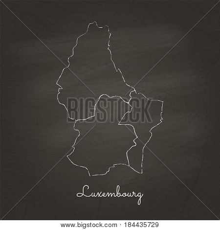 Luxembourg Region Map: Hand Drawn With White Chalk On School Blackboard Texture. Detailed Map Of Lux