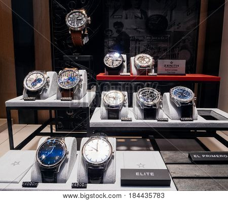 STRASBOURG FRANCE - APR 27 2017: Luxury ZENITH watches in store made Swiss manufacturer on sale in hi-gh-end time fashion boutique.