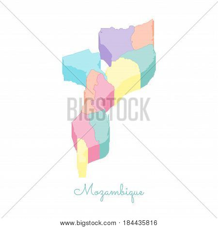 Mozambique Region Map: Colorful Isometric Top View. Detailed Map Of Mozambique Regions. Vector Illus