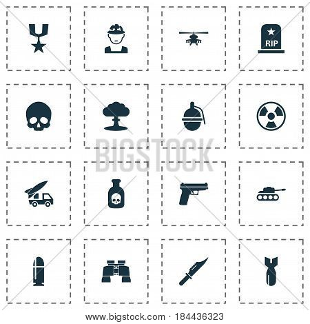 Battle Icons Set. Collection Of Panzer, Cranium, Rip And Other Elements. Also Includes Symbols Such As Oficer, Nuclear, Head.