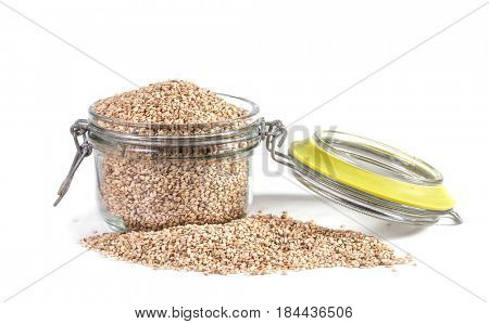 sesame seeds over white background