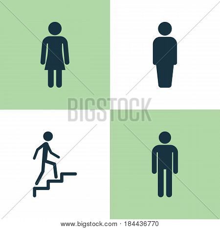 Human Icons Set. Collection Of Female, Gentleman, Ladder And Other Elements. Also Includes Symbols Such As Climbing, Female, User.