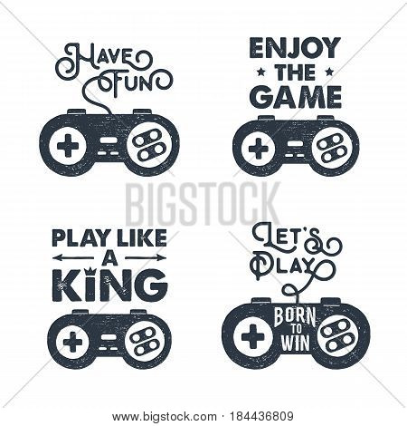 Hand drawn 90s themed set of badges with gamepad textured vector illustration and inspirational lettering.