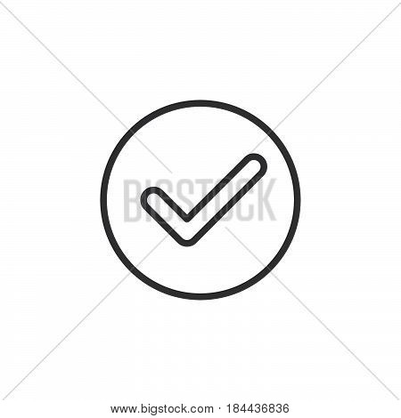 Check checkmark circular line icon. Round simple sign. Flat style vector symbol