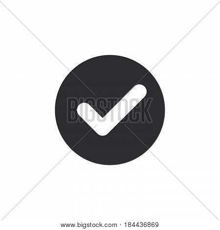 Check checkmark flat icon. Round simple button circular vector sign. Flat style design