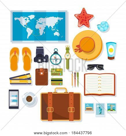 Travel, rest on the sea, objects necessary on a trip and brought from a place of rest. Modern vector illustration isolated on white background.