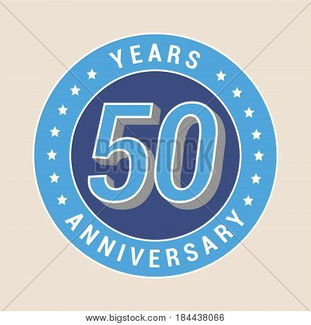 50 years anniversary vector icon emblem. Design element with blue color medal as a banner for 50th anniversary