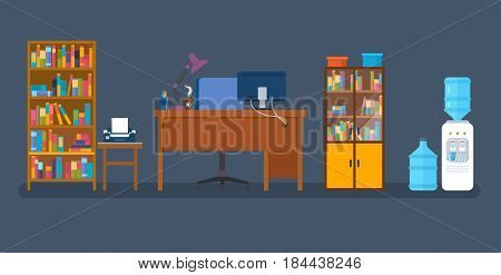 Set of isolated objects: bookcase with a literature, a cabinet with a printer, a workplace, a table with appliances, a cooler with water, a rack, for creating an office interior. Vector illustration.
