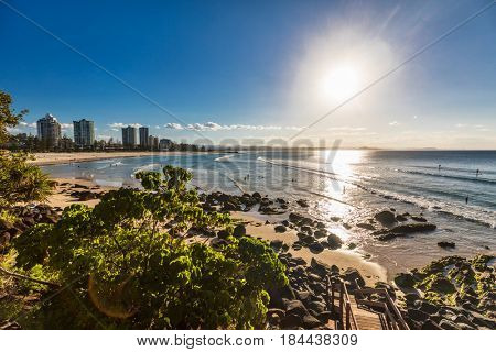 Steps on greenmount beach during sunset on Queensland's Gold Coast, Australia