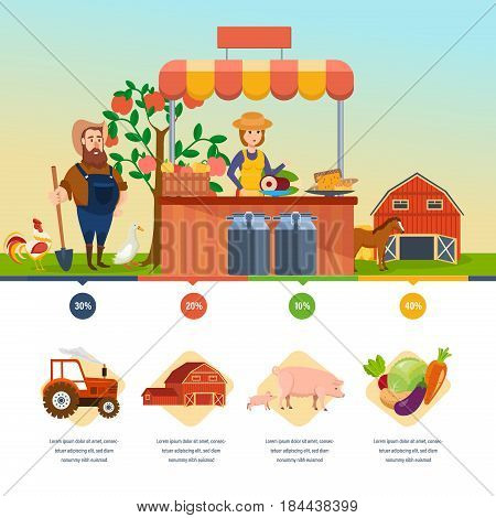 Organic health shop. Pure natural food, agriculture, clean environment, farming, shopping. Cashier sells products, next to farmer. Farmer market. Modern template design and infographic elements