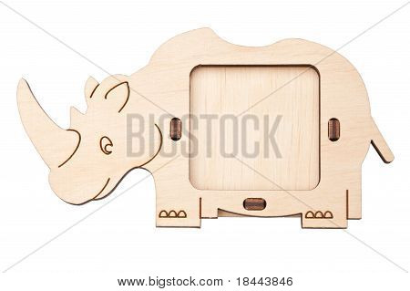 Wooden Picture Frame In The Form Of Rhino