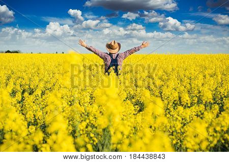 Agronomist standing in field of blooming cultivated rapeseed