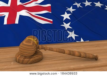Cook Island Law Concept - Flag Of The Cook Islands Behind Judge's Gavel 3D Illustration