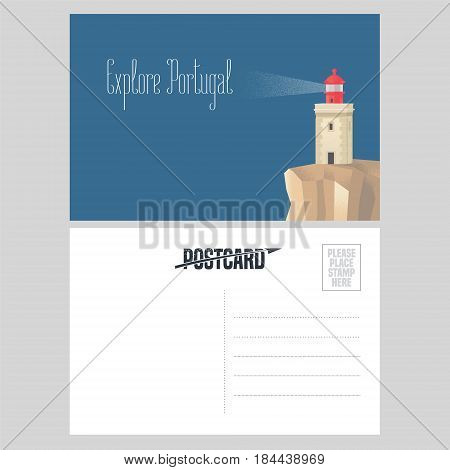 Postcard from Portugal vector illustration with lighthouse on Atlantic shore. Portuguese architecture design element in template double sided card with post stamp