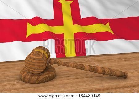 Channel Islands Law Concept - Flag Of Guernsey Behind Judge's Gavel 3D Illustration