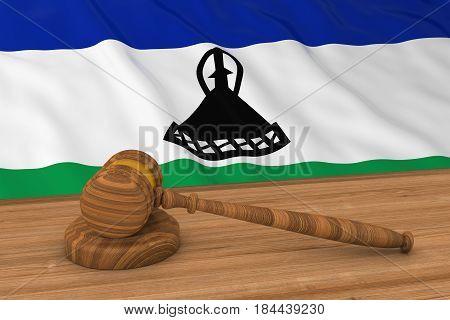 Basotho Law Concept - Flag Of Lesotho Behind Judge's Gavel 3D Illustration