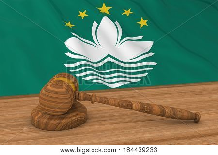 Macanese Law Concept - Flag Of Macau Behind Judge's Gavel 3D Illustration