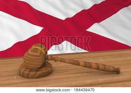 Northern Irish Law Concept - Flag Of Northern Ireland Behind Judge's Gavel 3D Illustration