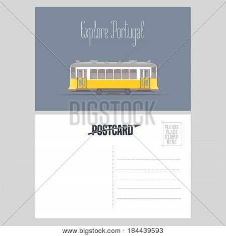 Postcard from Portugal with Lisboa tramway vector illustration. Portuguese capital transport design element in template card with post stamp