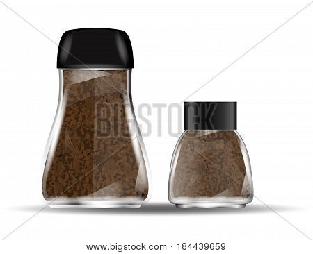 Coffee Glass Jars with Instant Coffee Granules Isolated on White Background. Vector Illustration.