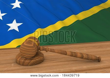 Solomon Island Law Concept - Flag Of Solomon Islands Behind Judge's Gavel 3D Illustration