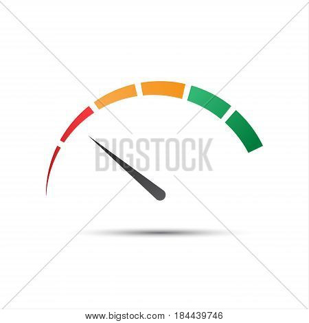 Simple color tachometer with a pointer in the minimum red part speedometer and performance measurement icon vector illustration for your website infographic and apps