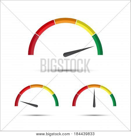 Set of simple vector tachometers with indicator in green yellow and red part speedometer icon performance measurement symbol isolated on a white background