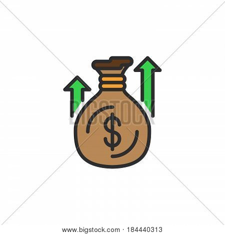 Money bag or sack line icon filled outline vector sign linear colorful pictogram isolated on white. Symbol logo illustration