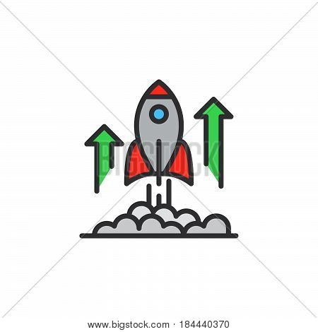 Rocket launch line icon filled outline vector sign linear colorful pictogram isolated on white. Business startup symbol logo illustration