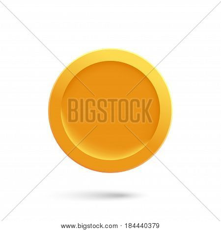 Gold medal or gold coin on a white background. Pattern of the gold medal. Vector illustration